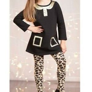 Mud Pie 4T black & gold dress with leopard tights